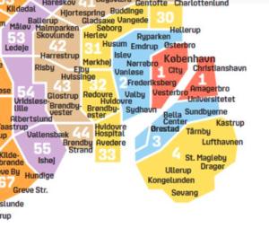 コペンハーゲンゾーン地図,コペンハーゲン公共交通機関,コペンハーゲン電車のチケット,コペンハーゲン公共交通機関のチケット
